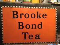 """ORIGINAL and unrestored Brook Bond Tea Sign. Steel and Enamel. 30"""" wide by 20"""" approx"""