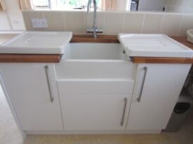 Ceramic Butlers sink in a Benchmark options white unit