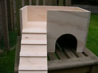 "Tort / Small Animal 2 Storey House / Hide / Shelter 15"" x 10"" x 10"" - Handmade"