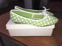 Tonic Light Green Polka Dot Ladies Flat Shoes/Pumps