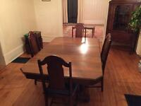 Solid wood dining table/5chairs/hutch/bar set