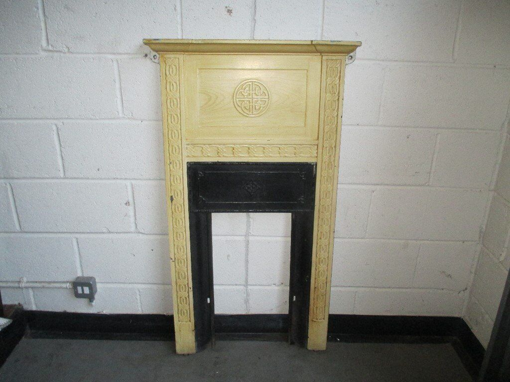 VICTORIAN SCOTIA CAST IRON FIRE PLACE FIRE SURROUND WITH CELTIC DESIGN FREE DELIVERY