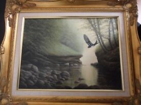 "David J Lawrence signed oil painting ""Kilmarnock Water"""