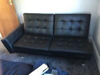 Free Black leather effect sofa bed - free