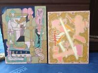2 LARGE VERY RARE Abstract Paintings By British Artist Rene Beckley c 1970 / 75 Norwich