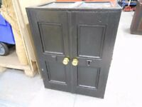 gorgeous antique 2 door 4 panelled metal safe with keys. absolutely stunning. can deliver
