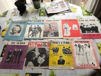 Very rare song sheets from various artists inc the Beatles, Tom Jones, Beach boys