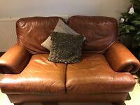 Brown leather 2 seater John Lewis sofa