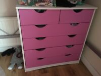 Girls wardrobe and chest of drawers also bedside drawers