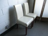 PAIR OF QUALITY CREAM FAUX LEATHER HIGH BACK DINING CHAIRS