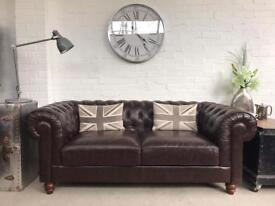 Brown 3 seater Chesterfield sofa. Can deliver.