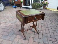 Occasional Drop Leaf Table - Darkwood with Green Leather inserts