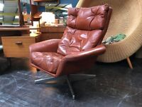 Red Leather Swivel Chair. Retro Vintage Mid Century Danish Style