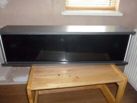 grey and glass shelf unit