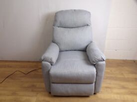 Grey Linen Weave Electric Riser Recliner Arm Chair