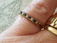 9 ct gold sapphire ring size p hallmarked