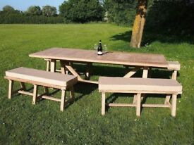Oak outdoor table and benches with cushions