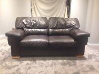 Dark brown 3 piece leather suite