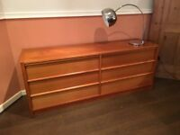 Danish teak mid century sideboard with drawers