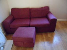 two seat sofa and storage stool