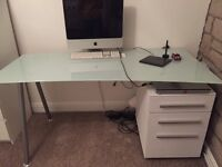 White glass top computer desk
