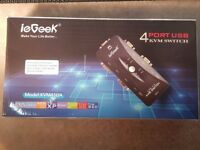 4 Port USB KVM Switch with Set of 4 KVM Cables - Brand New