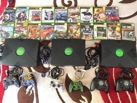 3 x original Xbox consoles and games