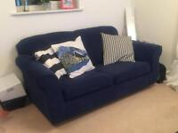 Navy blue two seater sofa bed