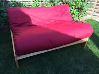 2 seat sofa bed with solid wood frame and mattress