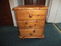 Solid pine three drawer bedside table/bedroom storage (free)