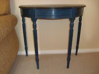 Shabby Chic half moon console, occasional table in Aubusson Blue & Graphite chalk paint