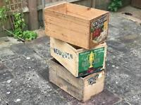 Three vintage crates