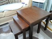 coffee table and nest of tables in dark oak