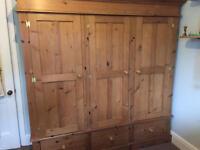 Pretty Solid Pine triple wardrobe - need gone within a week