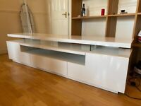 Large white high gloss tv stand unit H47 x W180 x D40 cm