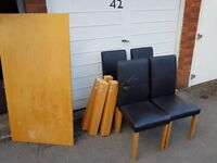 Oak dining table and leather chairs, FREE DELIVERY