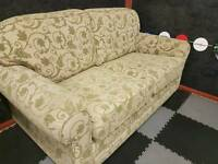 2 seater sofa cream and green excellent condition
