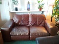 Large brown leather 2 seater sofa £50 ono