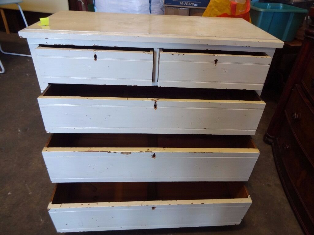 Vintage Large Chest of Drawers painted white shabby chic ...
