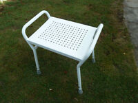 "Shower Stool, white, used but in very good condition, H 19""inches/seat 13""inches x 16""inches"