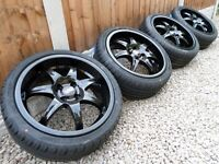 "17"" WOLFRACE DEEP DISH ALLOY WHEELS & NEW TYRES REFURBED 4x100 mini vauxhall vw"