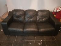 Black leather 3 seater sofa settee FREE TO COLLECTOR
