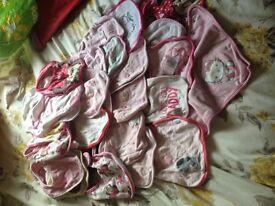 bundle of over 25 girls bibs