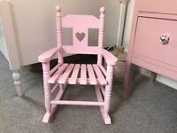 Children's Pink Wooden Rocking Chair