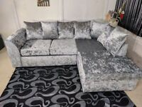 Available in all Colors -Left / Right Hand Corner Sofa Black/ Silver , Crushed Velvet Fabric Sofa