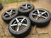 "Genuine 18"" bola b2 5x112 with brand new nankang tyres"