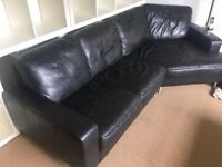 DFS BLACK LEATHER CORNER SOFA - MUST GO ASAP - CHEAP DELIVERY - £375