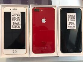 iPhone 8 Plus 64gb unlocked good as new come with warranty all colours available ,Headrow phones
