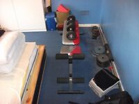 York Weight Bench, 7ft & 5ft Barbell, Two Dumbbells and 65kg Free Weights