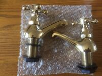Vintage solid brass taps (2 sets brand new)